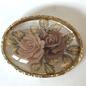 Vintage Glass Floral Painted Brooch